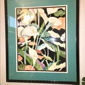 Beautiful Framed Calla Lilly Flower WATERCOLOR Art